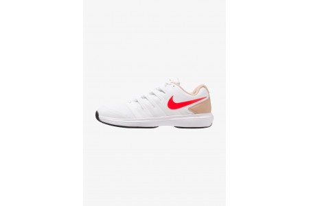 Nike AIR ZOOM PRESTIGE HC - Baskets tout terrain white/bright crimson/bio beige/black pas cher