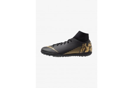 Nike SUPERFLYX 6 CLUB TF - Chaussures de foot multicrampons black/metallic vivid gold pas cher
