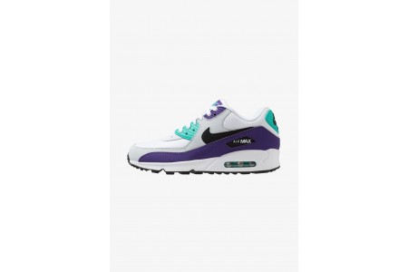 Nike AIR MAX 90 ESSENTIAL - Baskets basses white/black/hyper jade/court purple/pure platinum pas cher